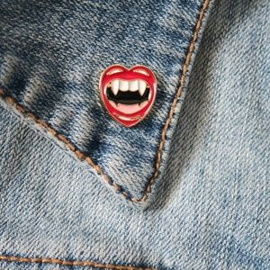 Jewelry - Vampire Teeth Enamel Pin Sexy Lips Halloween
